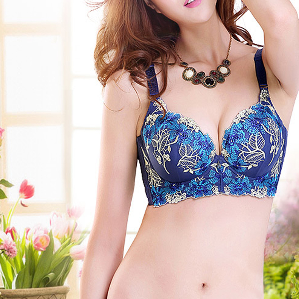 ae40aeaa14 Aliexpress.com   Buy Vogue Secret 3 4 Cup Hot Sexy Bra Red Padded Push up  Bralette Women Underwear with charms Floral Design Embroidery Gift For Girl  from ...