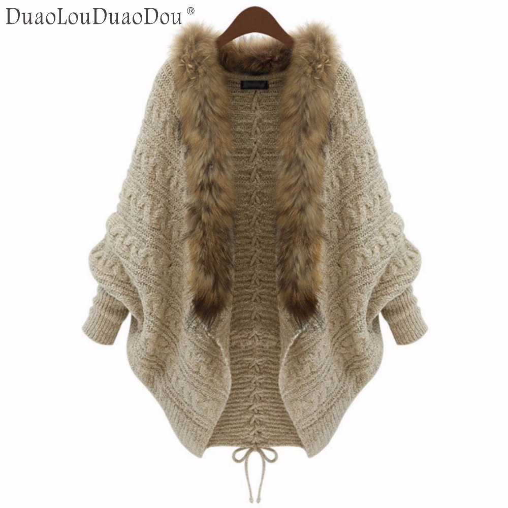 Autumn Winter Women imitation raccoon fur collar bat sleeves knitted cardigan Sweater shawl outwear