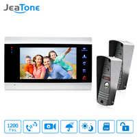"JeaTone 7 ""Wired Video Tür Telefon Türklingel Home Security Intercom System 1200TVL Kamera LED Farbe Display Monitor Home Security"