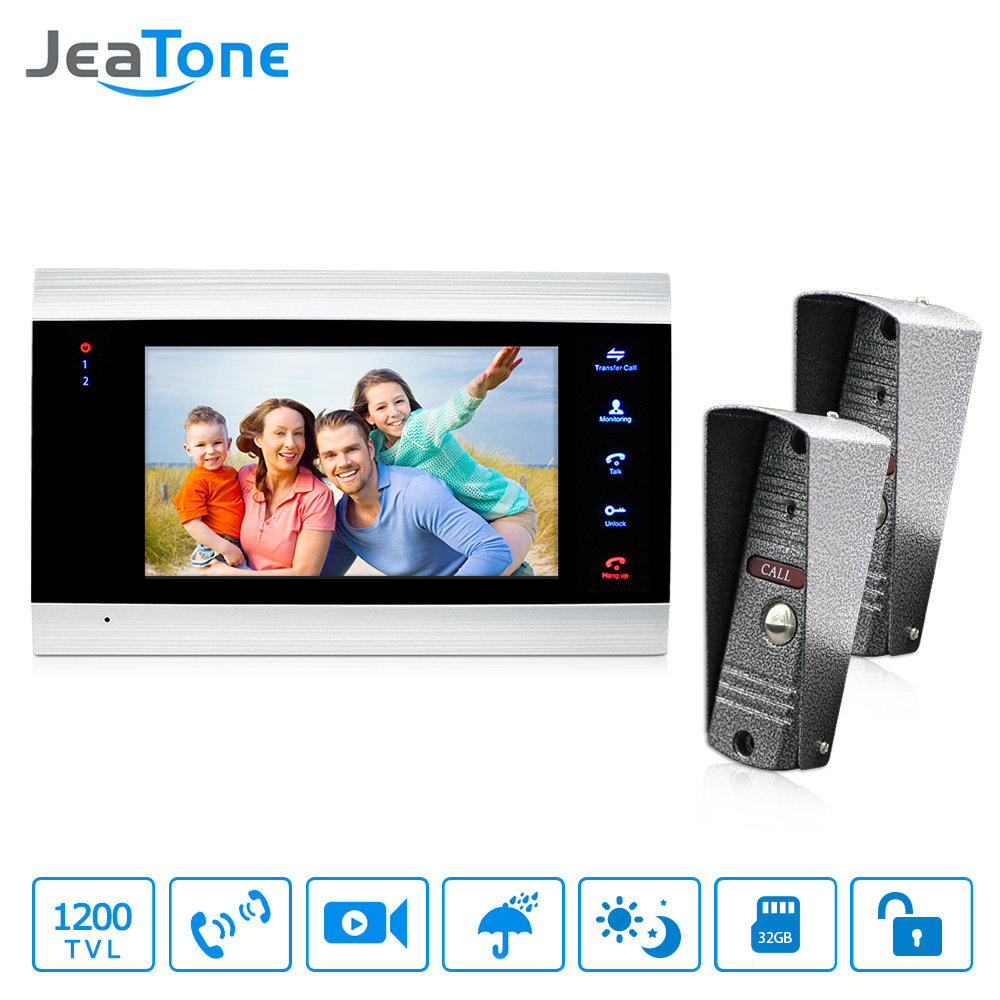 JeaTone 7 Wired Video Door Phone Doorbell Home Security Intercom System 1200TVL Camera LED Color Display Monitor Home Security jeatone 7 inch video door phone doorbell intercom with 600tvl outdoor camera ip65 on door video intercom security system 4 wired