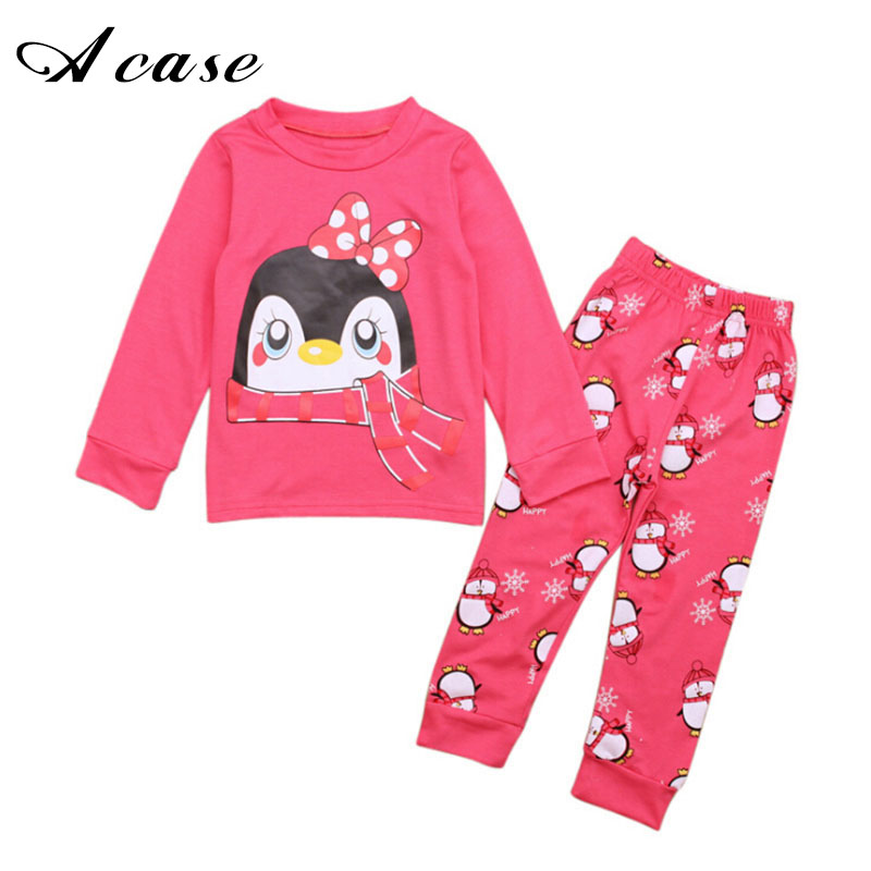Kids 2018 Spring Autumn Long Sleeve Pajamas Set Boys Dinosaurs Pajama Girls Penguins Animal 2 3 4 5 6 7 Years Child Pjs Clothing