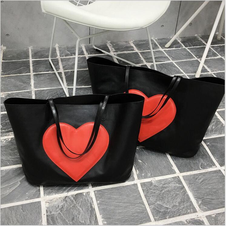 2 pièces sac Composite femme PU cuir grande capacité sac à main en forme de coeur modèle femmes Messenger sacs ensemble femmes sac à bandoulière.