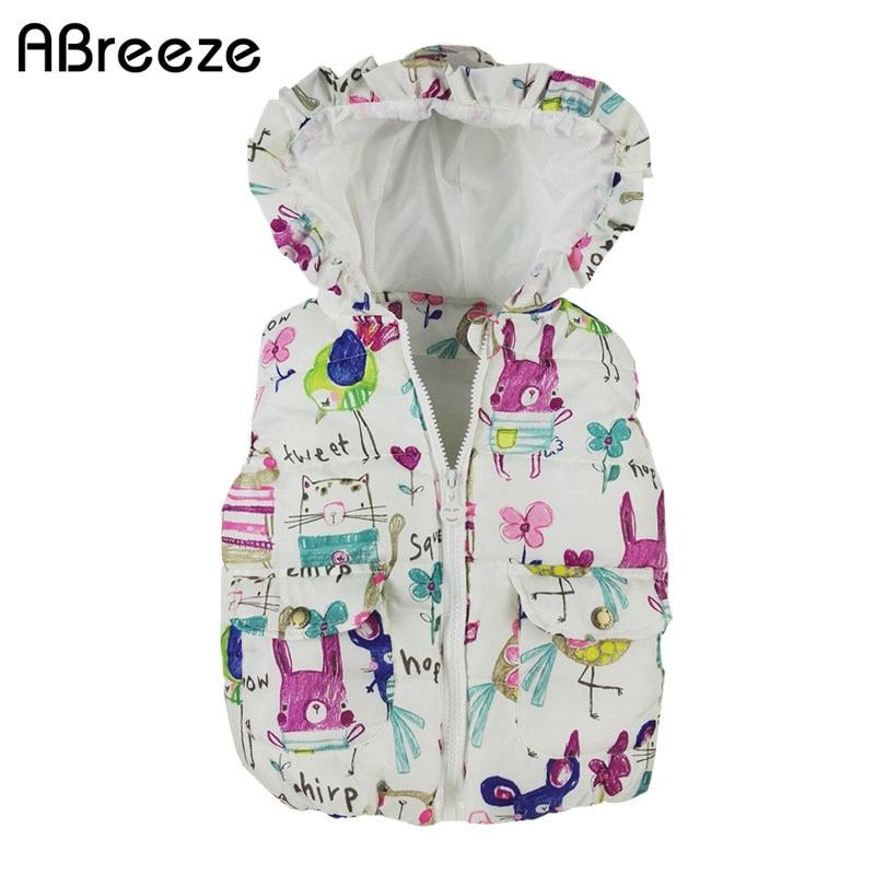 2017. gada rudens ziemas bērnu apģērbi jaunās meitenes Virsdrēbes un mēteļi Dzīvnieku Graffiti kapuci meitenēm Vest jakas Bērnu meitene silta veste