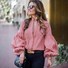 Модная женская Свободная блузка с длинным рукавом, Повседневная рубашка, летние красные, Синие Клетчатые Топы
