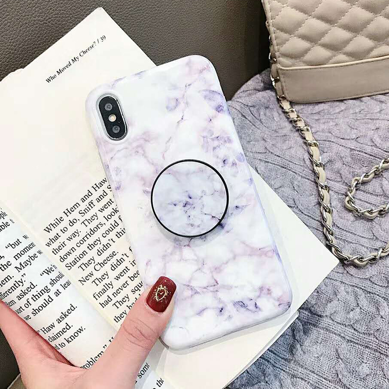 Geometric Marble Pattern Kickstand Phone Case For iPhone XS Max XR X 6 6S 7 8 Plus Fashion IMD Soft Protective Back Cover Coque (3)