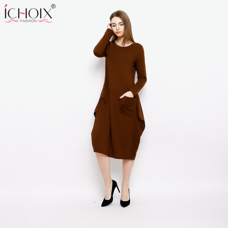 451cad0d8d6c8 2018 New Spring Plus Size Long Women Dress Female Winter Loose Dresses Big  Size Elegant Office Dress Vestidos M 3XL with Pocket -in Dresses from  Women s ...