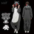 Unisex Adult Anime Gray Wolf Polar Fleece Cosplay Costume Pajamas Party Onesies Pyjamas Sleepwear Fancy Dress One-Piece