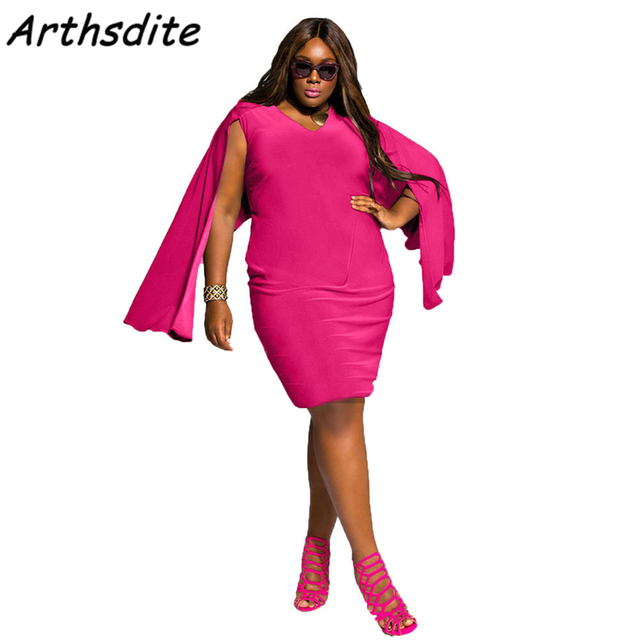 Arthsdite Rose Patchwork Big Size Women Dress V Neck Casual Loose ...