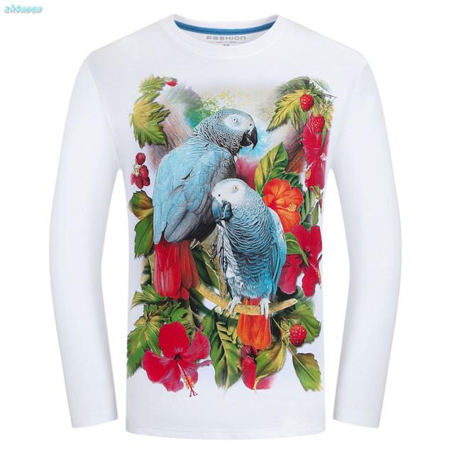 Big Boy Niños Camiseta con Estampado Divertido Fresco Otoño 3d animales Flor Loro Camisetas para Las Mujeres Más El Tamaño de Los Hombres Ocasionales Tops