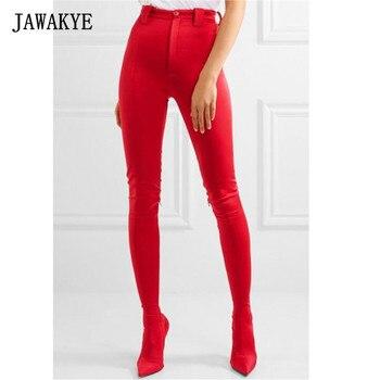 Jawakye новые модные красные штаны до бедра Сапоги и ботинки для девочек Для женщин острым сексуальные туфли на шпильке эластичный носок Талия ...