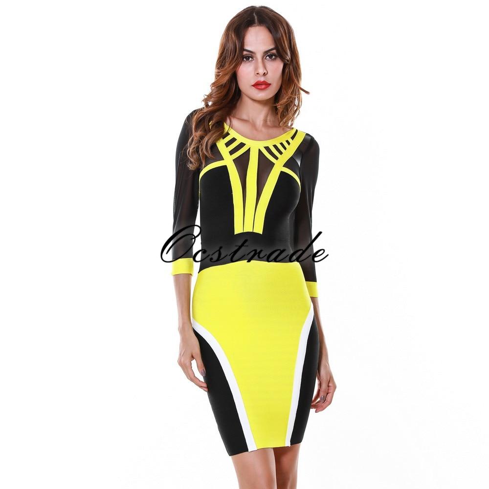 Dark yellow bodycon dress