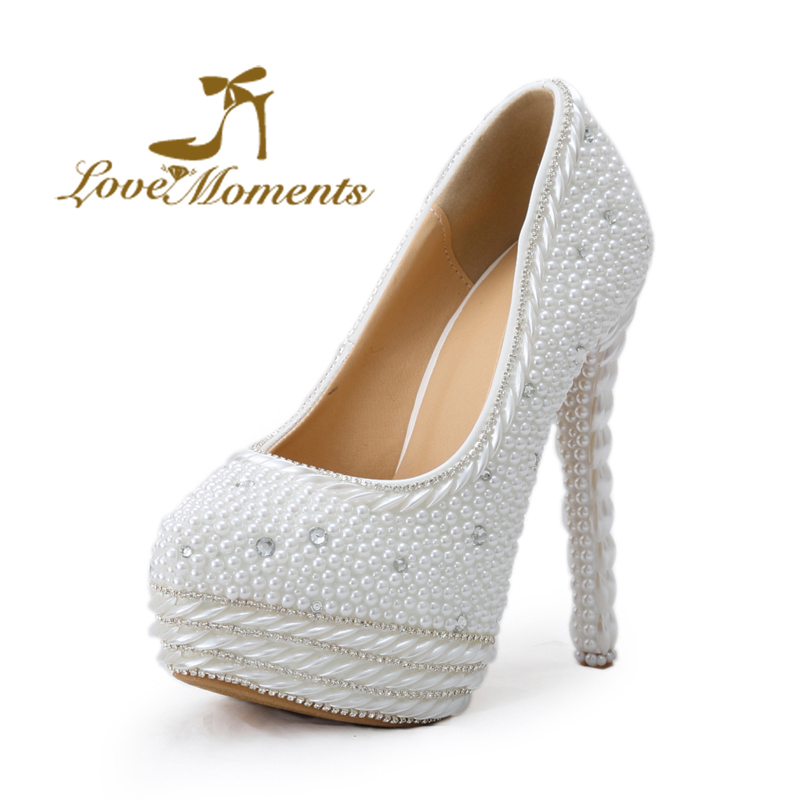 Love Moments shoes woman crystal wedding shoes bride white platform pumps thin heels pointed toe party shoes for women