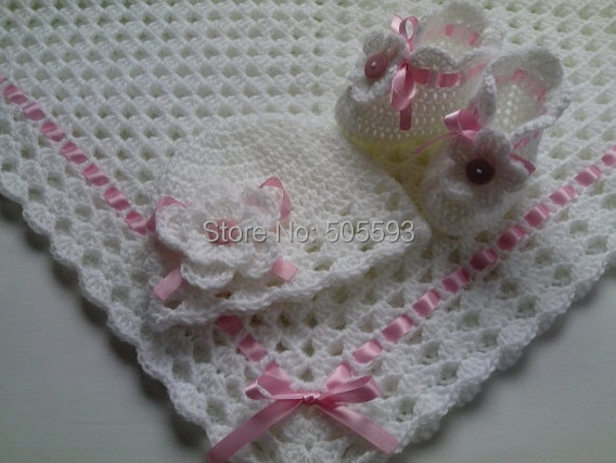 On Sale Crochet Baby Blanket Hat And Booties Set Gift Christening