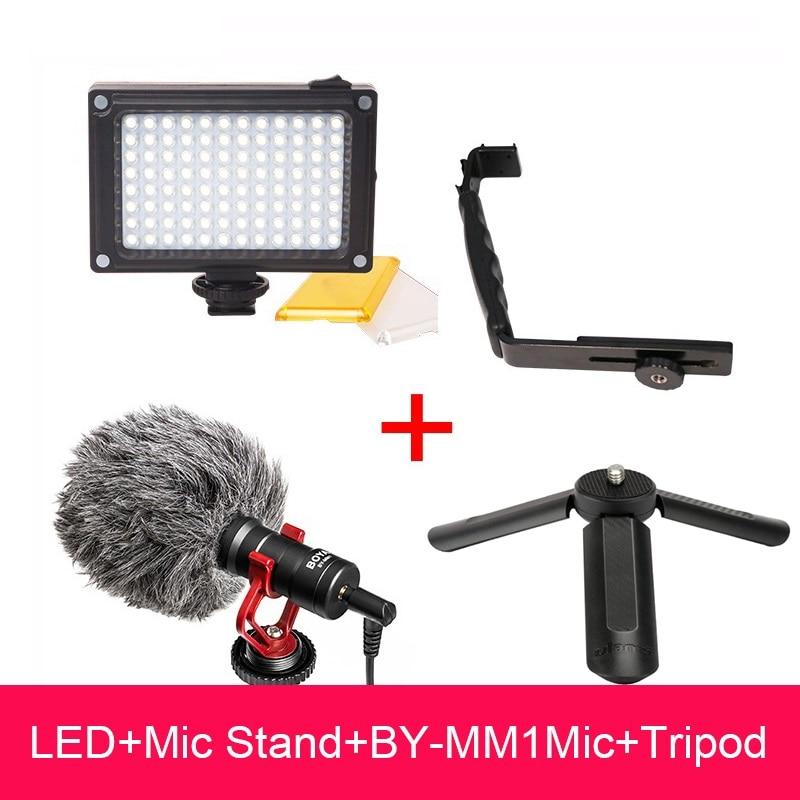 Видео Настройка для Zhiyun Smooth Q, влючая BOYA BY-MM1 микрофон, светодиодный видеосвет, штатив крепление стенд кронштейн для Zhiyun Smooth 4/DJI Осмо 2 / Feiyu vimble ...