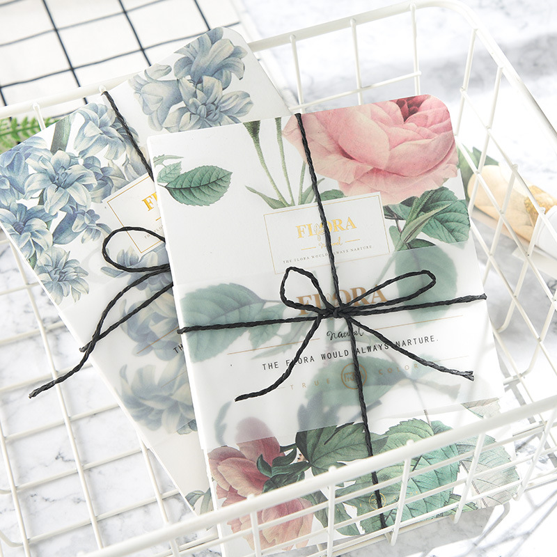 New Literary vintage flower pattern sketchbook notebook diary book bullet journal Fresh plant diary notebook student gift my beauty diary 10