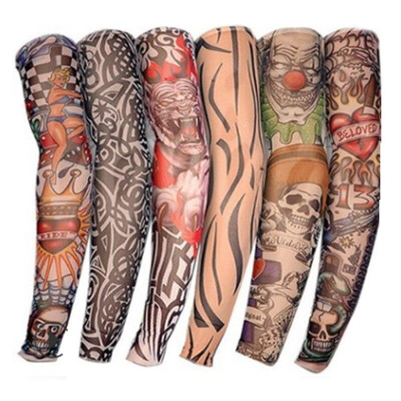 6 Pieces/Set Summer Cycling Sport Elastic Tattoo Sleeve Sunscreen Sleeve Arm Sleeve Running Arm Warmer Outdoor Oversleeve Unisex