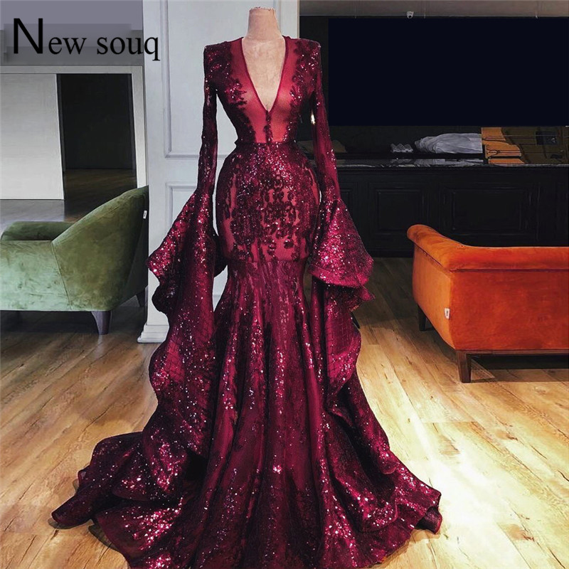 Dubai Muslim Abaya Turkish   Evening     Dress   Long Sleeves Prom   Dresses   V Neck 2019 Pageant Party Gowns Robe De Soiree Longue Custom