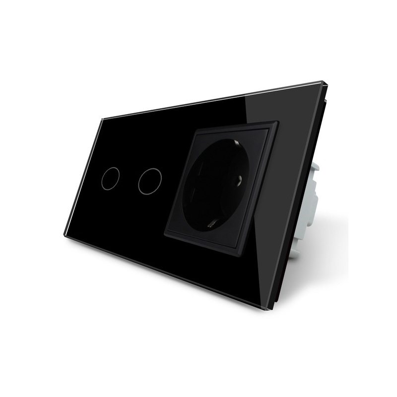 Free Shipping, Touch Switch, Black Crystal Glass Panel, AC 110~250V EU Standard Wall Socket , VL-C702-12/VL-C7C1EU-12 aeg t vl 5531 black вентилятор