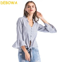 Debowa 2018 New Fashion Spring Women Blouses Cotton And Linen Striped Shirt Sexy Deep V Neck