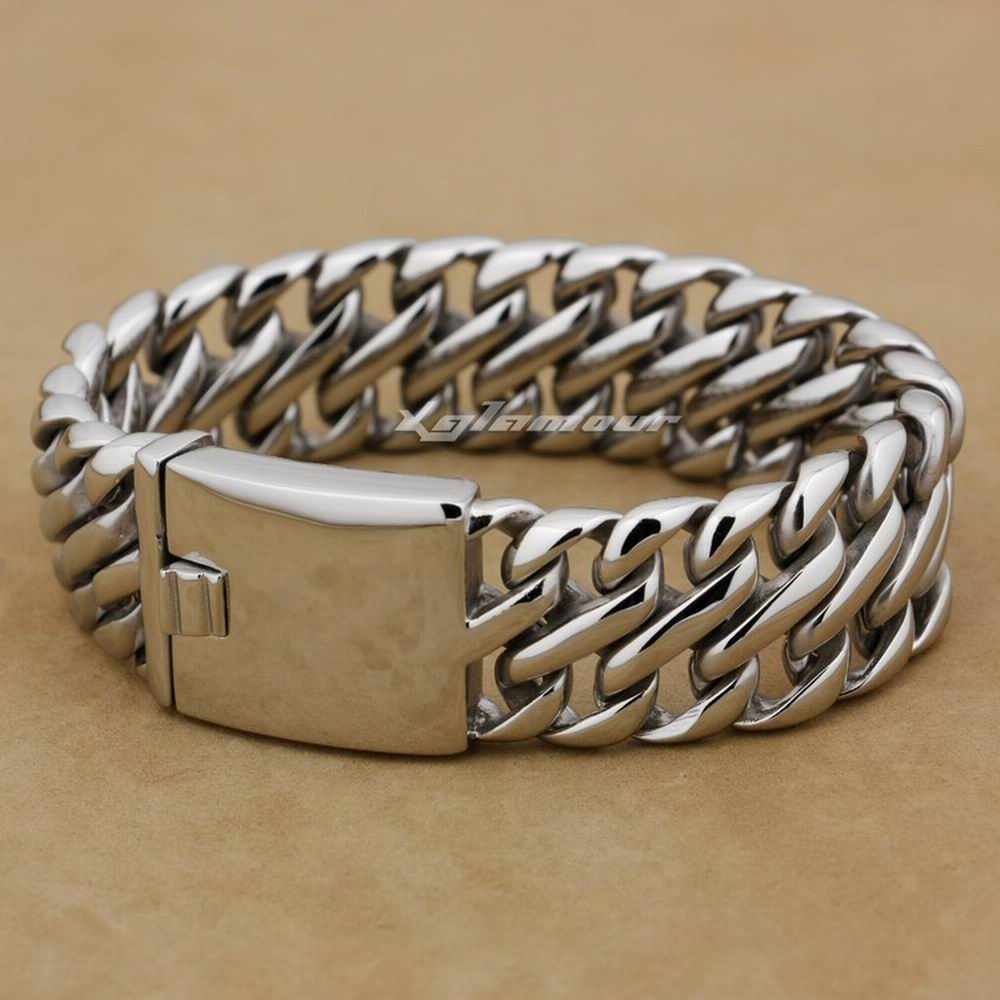 14 Lengths Huge Heavy 316L Stainless Steel Mens Biker Punk Bracelet 5L002