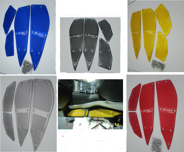 CNC  Aluminum Motorcycle Footrest Footpegs Foot Pads Pedal Mat Plate Cover Panels For  XMAX X-MAX 125 250 300 400