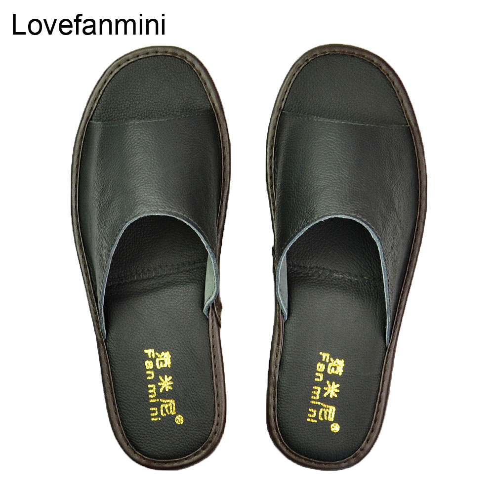 Genuine Cow Leather Slippers Couple Indoor Non-slip Men Women Home Fashion Casual Single Shoes TPR Soft Soles Spring Summer 511m