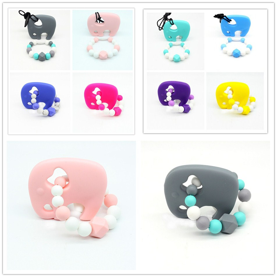 Baby Teether Pacifier Elephant Silicone Natural Sound Teething Chewable Nursing Beads Child Give Up Sucking Fingers