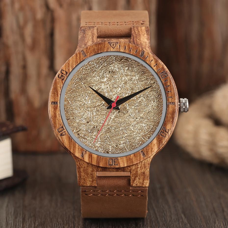 Unique Stripes Lines Dial Wooden Watch Mens Bamboo Creative Quartz Clock Genuine Leather Bangle Reloj de madera 2017 New Fashion  (7)