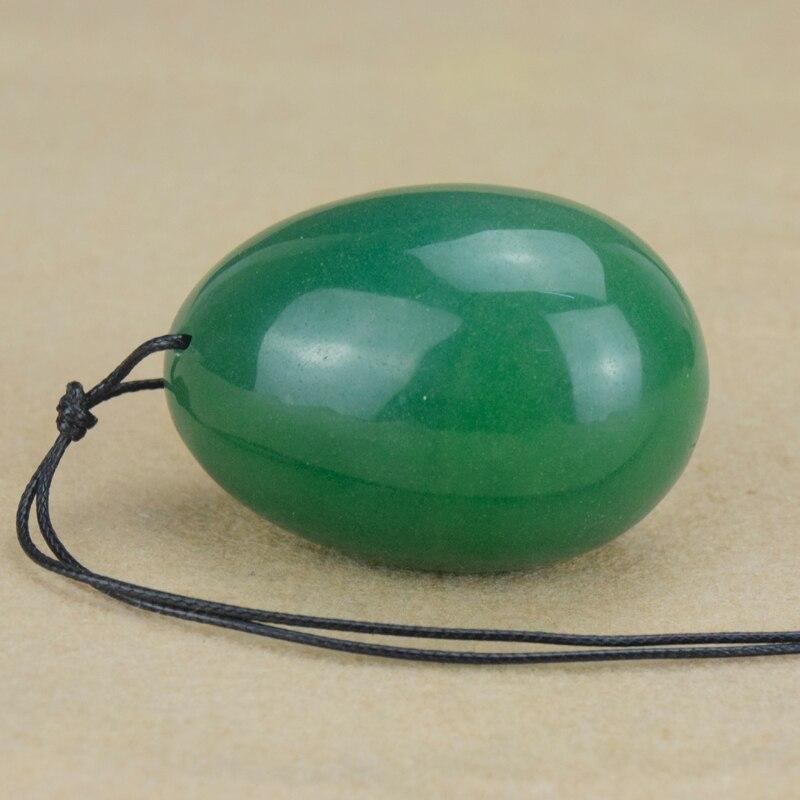 Drilled Natural Green Aventurine Jade Egg for Kegel Exercise, 40 * - Helsevesen - Bilde 4
