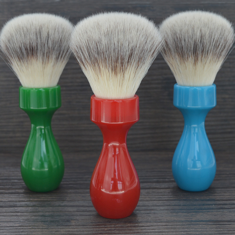 Dscosmetic 26mm Super Soft Synthetic Hair Knots Shaving Brush With Resin Handle For Man Wet Shave Use Synthetic Nylon Bristles