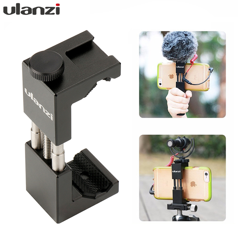 Youtube Vlog Video Maker üçün Ulanzi ST-02 Cib telefonu Tripod Mount isti isti ayaqqabı uyğun Aputure AL-M9 / Boya BY-MM1 mikrofon