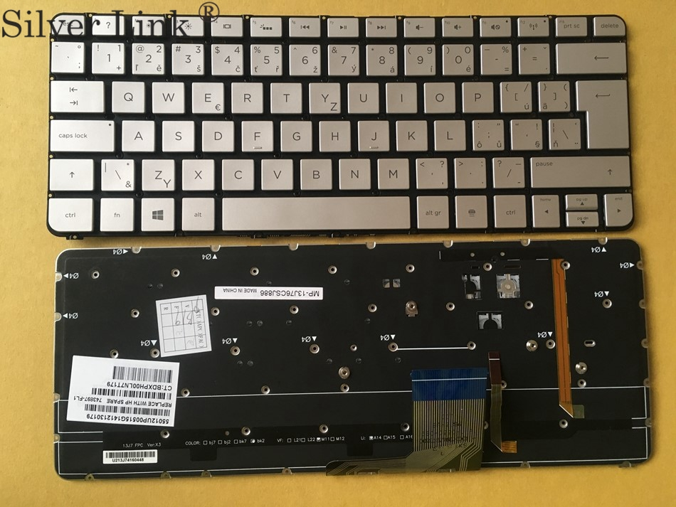 New CZ SL Cezch Slovak Backlit Keyboard For HP Spectre 13-3000 Series 743897-FL1 Laptop Keyboard SL CZ Layout