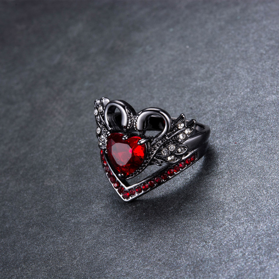 Liumo Fashion Wings Shape Vintage Punk Gothic Style Black Color with Red Stone Crystal Women Copper Alloy Ring Lr495