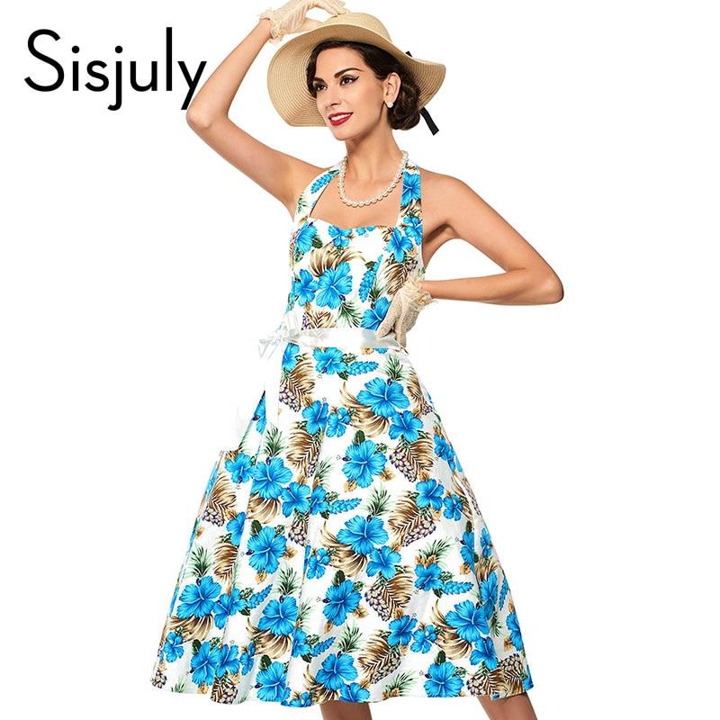 Sisjuly vintage dress mujeres de la impresión floral 2017 del verano del resorte