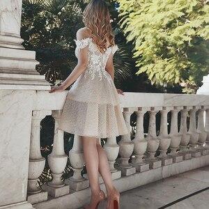 Image 4 - את כתף קצר חתונה שמלת 2019 שמפניה Appliqued תחרה הכלה שמלות הברך אורך ללא משענת Custom