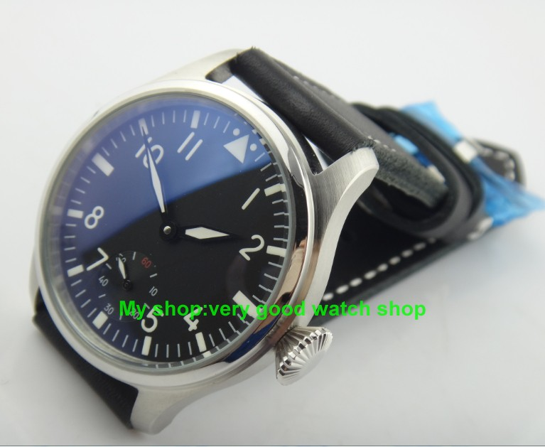 47mm Big dial PARNIS pilot 6498/3621  Winding Hand Movement Black Dial Wrist Watch High quality luminous men watches 120 нд плэй лучшие игры split second pc dvd jewel