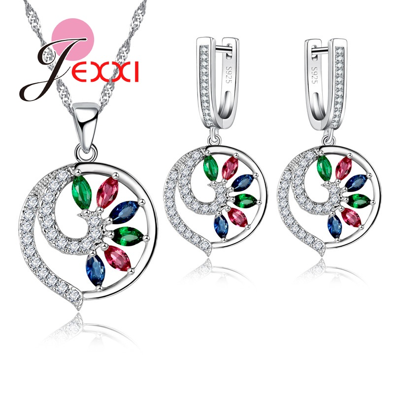 JEXXI Fine Jewelry Sets New Fashion Sterling Silver Opal Crystal Peacock Pattern Necklace Earring Wedding Jewellery Craft