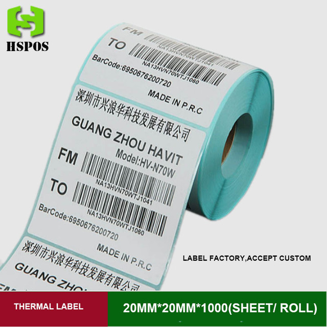 Thermal printer label sticker paper 20mmx20mm 1000pcs one roll single row self adhesive printing papel can