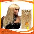 7 pçs/set ensolarado cabelo virgem trama cor Natural loira grampo em extensões do cabelo 100 g