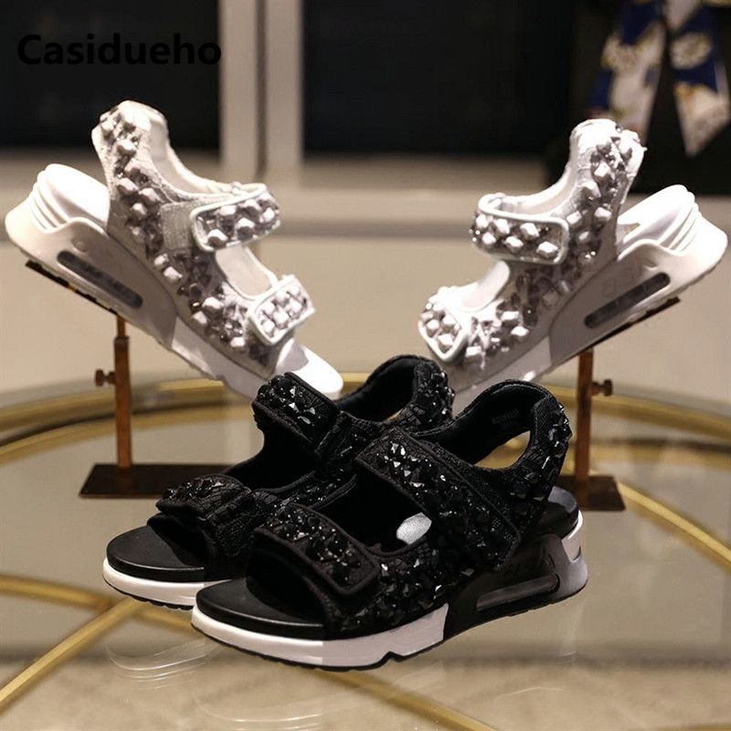 Casidueho Women Platform Sandals Summer New Flats Casual Shoes Woman Crystal Embroidery Leather Sandals Peep Toe Leisure Shoes women shoes woman sandals 2017 dress office party casual strange style genuine leather peep toe crystal bling platform shoes