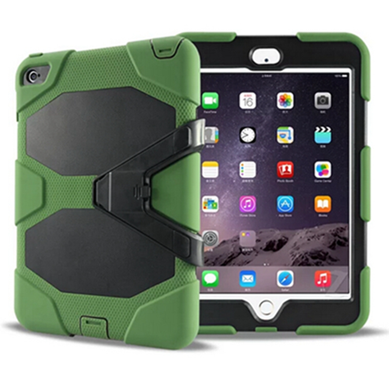 3 in 1 Hybrid Plastic+Silicon Heavy Duty Shockproof Dual Layer Rugged Military Armor Back Cover case for ipad mini 4 Coque