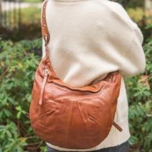 EUMOAN Portable single shoulder Bag Crescent bag Classic soft leather trendy handbag