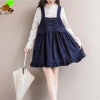 Mori Dresses Clothing Women National Autumn Corduroy 100 Cotton Vintage Dress Ruffles Plus Size Casual Staghetti