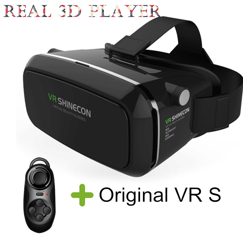 babdd4c15060 Original VR Shinecon 3D Glasses Headset Google GlassHead Mount 3D Movies  Games For 4.7-6.0 inch Phone + Bluetooth Remote Control