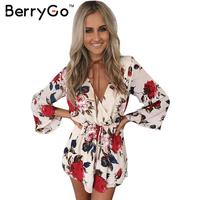 BerryGo Boho Floral Elegant Jumpsuit Romper Women Summer Sexy V Neck One Piece Playsuit Beach Sashes