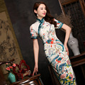 2017 Traditional Chinese Dress Flowers Print Cheongsams Vintage Short Sleeve Silk Qipao Long Evening Dress Chinese Clothing