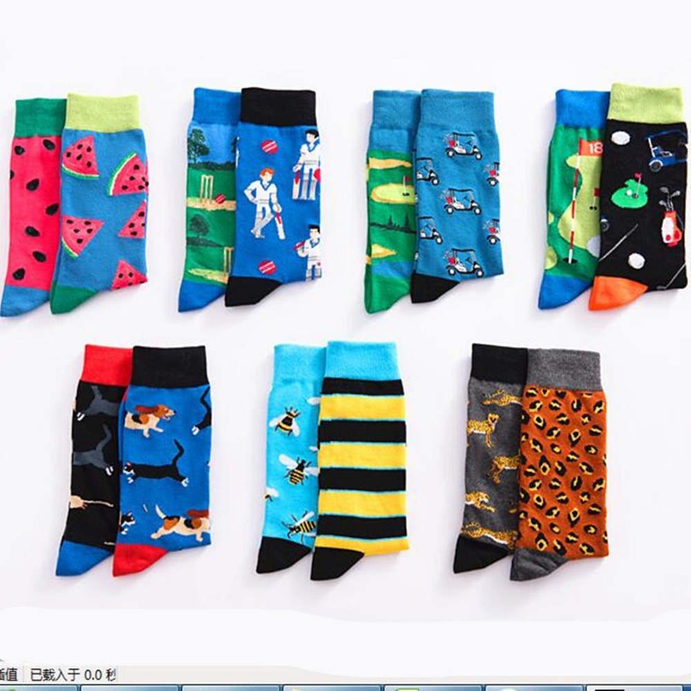 man knee-high <font><b>cotton</b></font> <font><b>sock</b></font> fruit watermelon Go kart animal bee golf mouse dog colorful happy spring winter funny warm <font><b>sock</b></font> <font><b>unisex</b></font> image