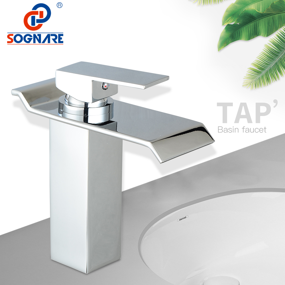 SOGNARE Waterfall Taps Mixer Single Handle Cold and Hot Water Tap Basin Mixer Sink Faucet for Bathroom Waterfall Faucet Brass luxury led light bathroom basin faucet single water waterfall square washbasin mixer tap rgb color changing hot and cold taps