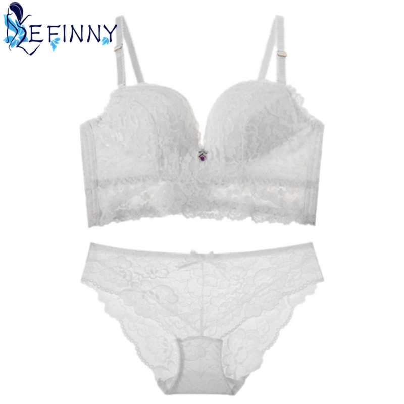 2018 Newest Sexy Women   Bra     Set   Exquisite Embroidery Bow Push Up   Bra   B Cup Hollow Lingerie Fashion Comfortable Lace   Brief     Set