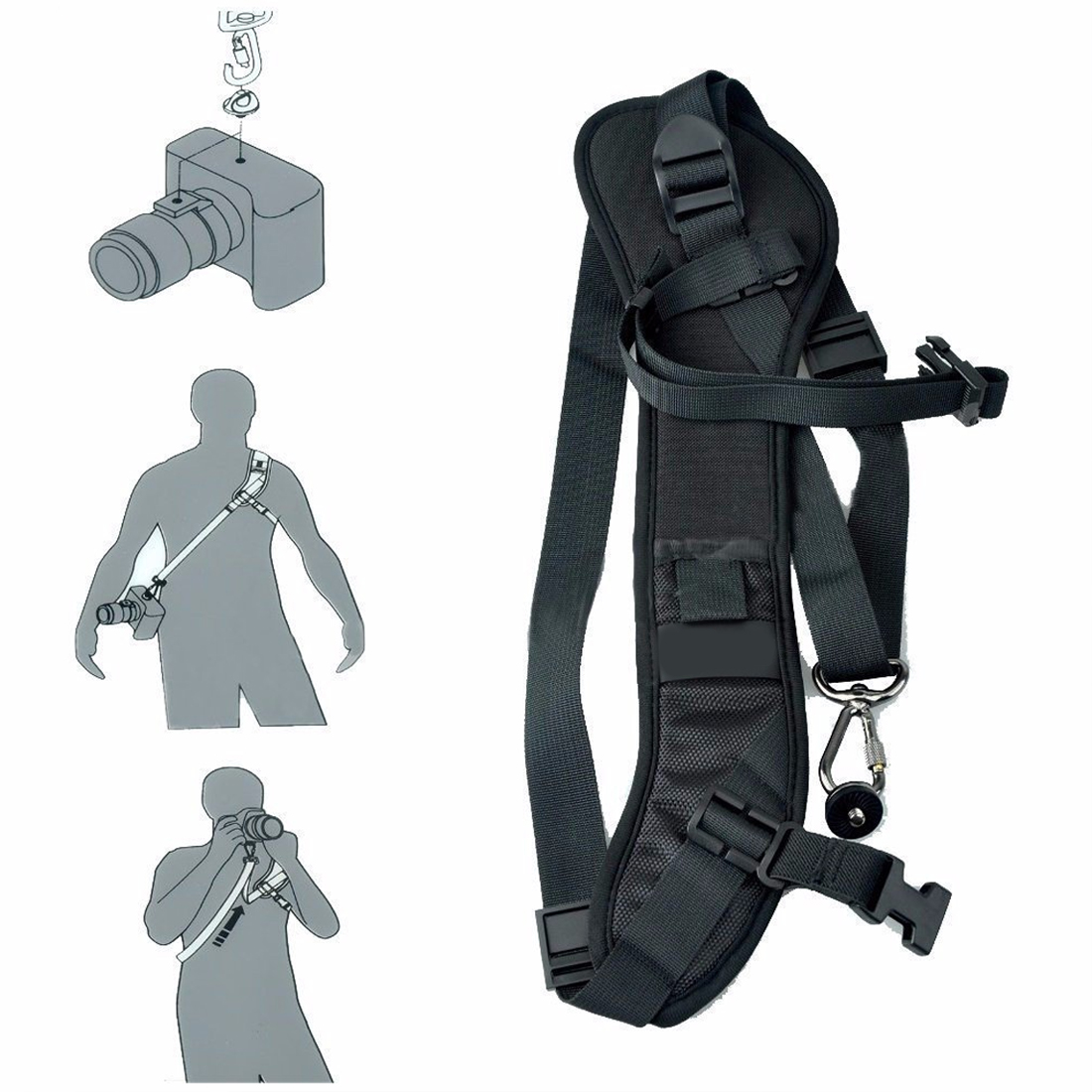 Centechia Good SALE Foucs F1 Quick Rapid Camera Single Shoulder Sling Black Strap For DSLR Camera